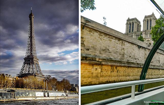 A Torre Eiffel e a Catedral de Notre Dame vistas em um passeio de barco pelo Rio Sena, em Paris