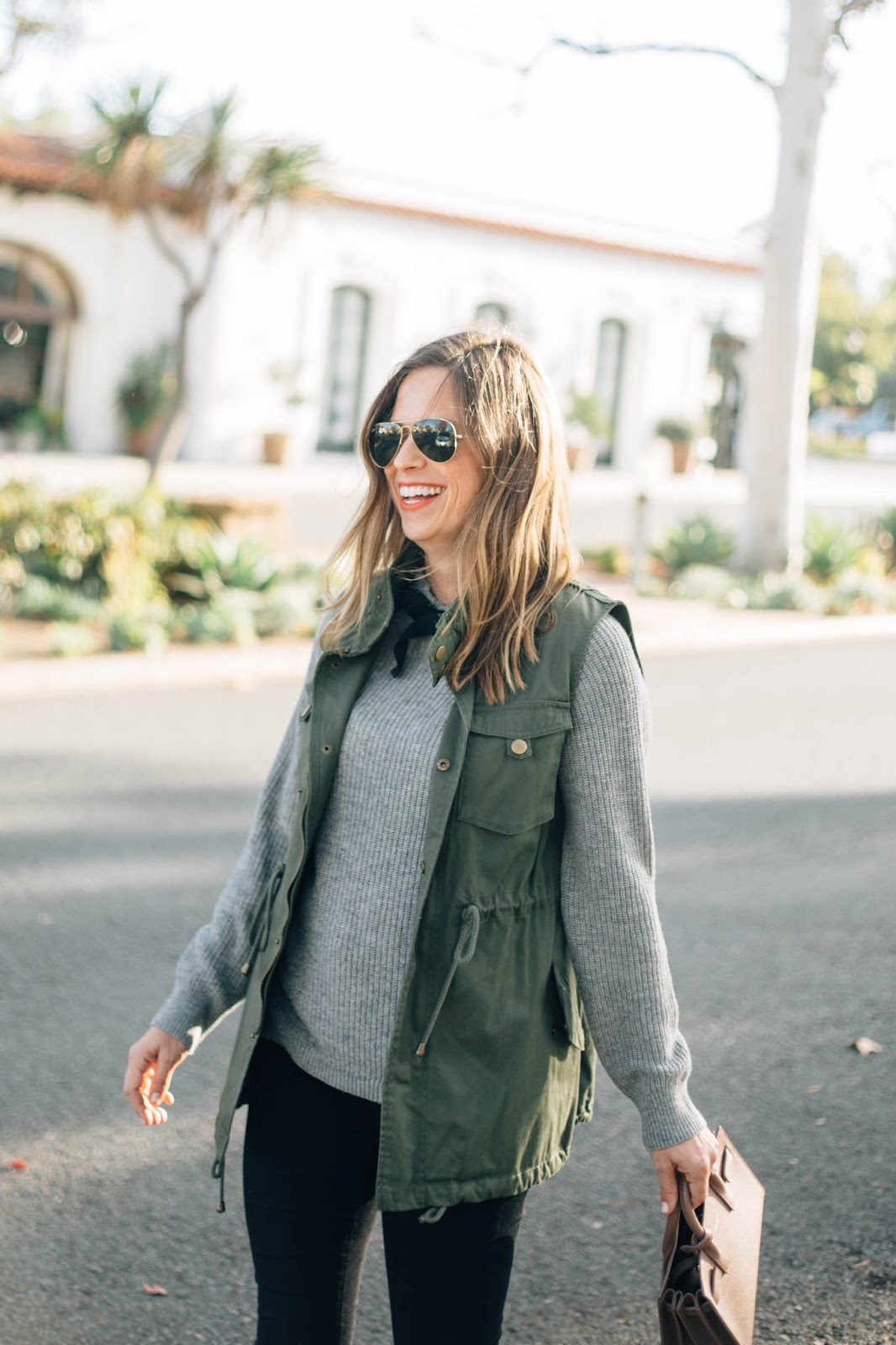 blogger sweater and vest outfit