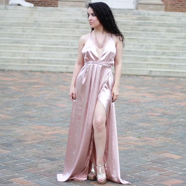 Pink Plunge V Neck Evening Dress
