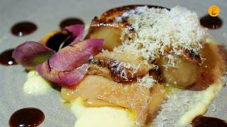 Foie gras con hoisin y puré de piña y azafrán en la Chusquery Madrid