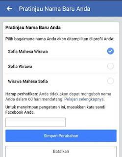 cara merubah nama di profil facebook lewat hp android