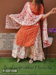 Hot Selling Rayon Kurtis With Skirt And Dupatta Set