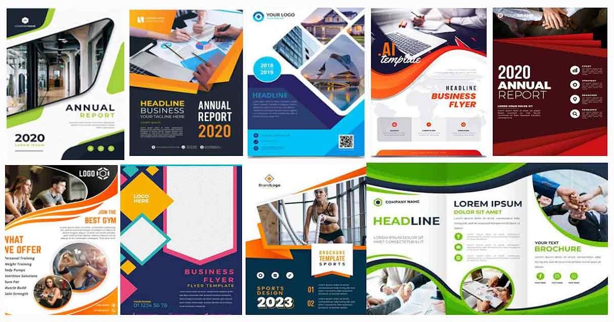 بروشور Brochure Psd مجموعة بروشور فيكتور او Psd بألوان مختلفة جاهز للتعديل عليه مصممي الدعاية والإعلان Brochure Template Free Vector