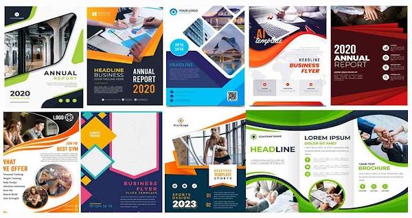 بروشور Brochure psd | مجموعة بروشور فيكتور او PSD بألوان مختلفة مصممي الدعاية والإعلان  brochure template Free Vector