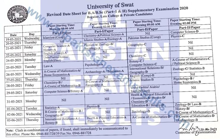 University Of Swat Date Sheet BA Supply Exam 2020 Revised