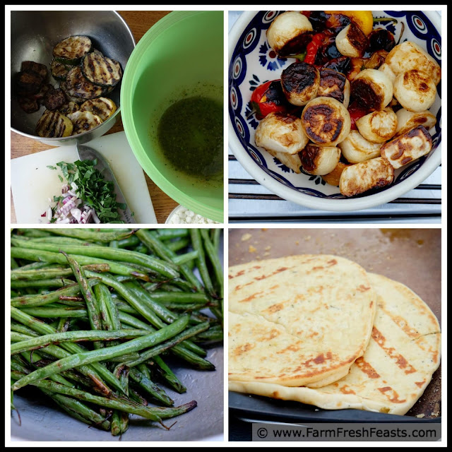 Grilled summer squash, grilled salad turnips, grilled naan bread and grilled green beans in a collage.