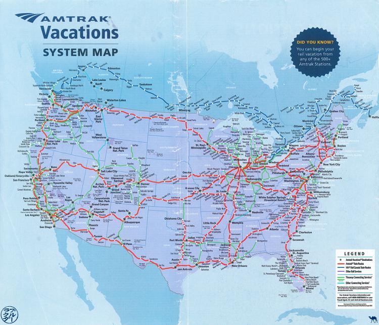 Le Chameau Bleu - Blog Voyage Amtrak Train au USA -  Carte des itinéraires Amtrak aux USA