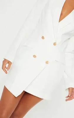 White Gold Button Blazer Party Dress Design