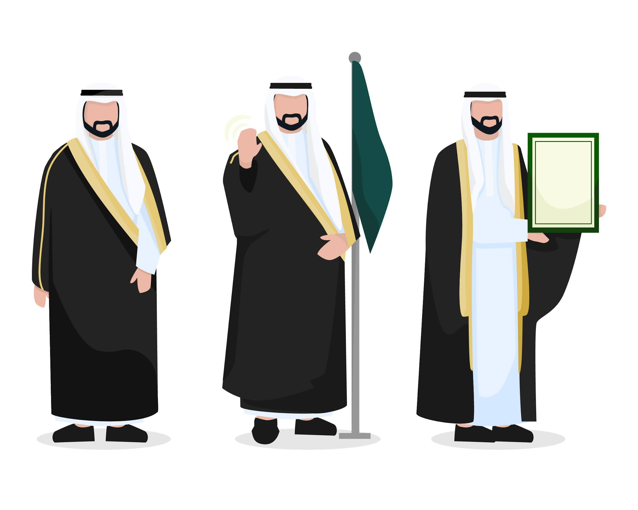 Download Arab Gulf Arab characters vectors and open source psd