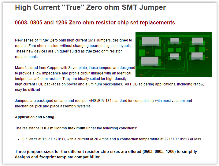 Zero Ohm High Current Smt Jumpers