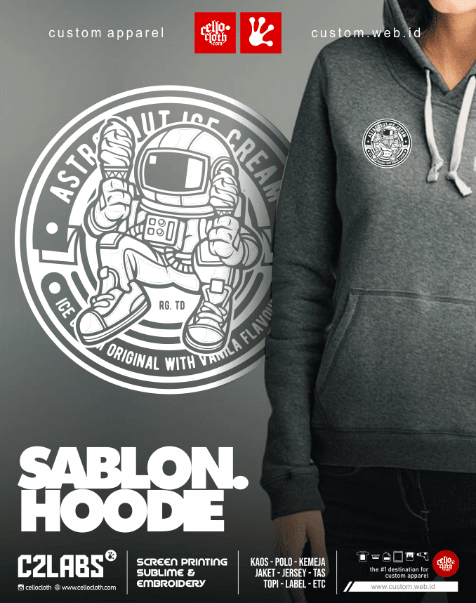 Sablon Bordir Hoodie Jacket Fleece Cotton - Konveksi Jaket Jogja
