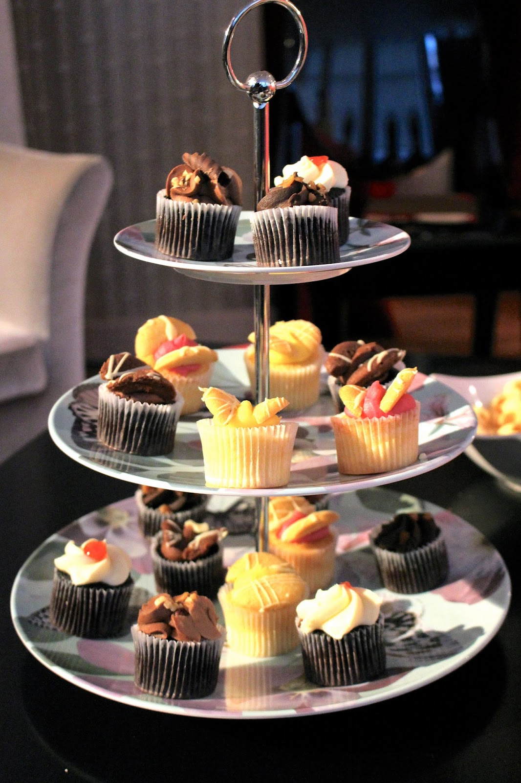 Afternoon tea platter of butterfly cakes vanilla chocolate