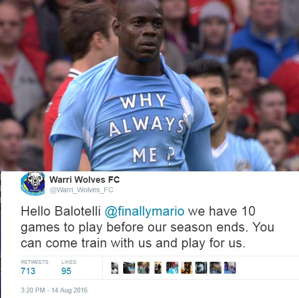 Nigerian football club Warri Wolves invites Mario Balotelli to play for them