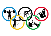 Olympic rings with athletes