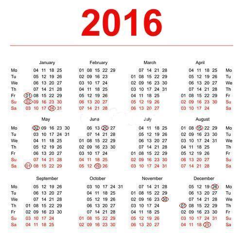 Calendar Zile Lucratoare : Zile libere legale retete culinare