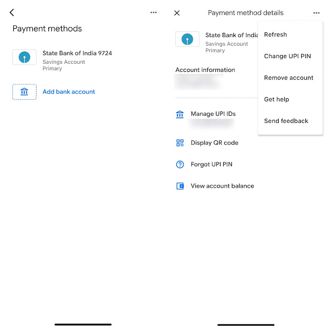 Remove bank account on Google Pay