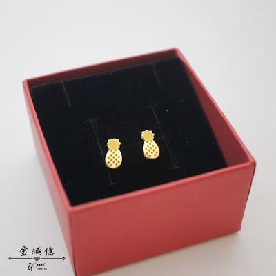 鳳梨造型黃金耳環