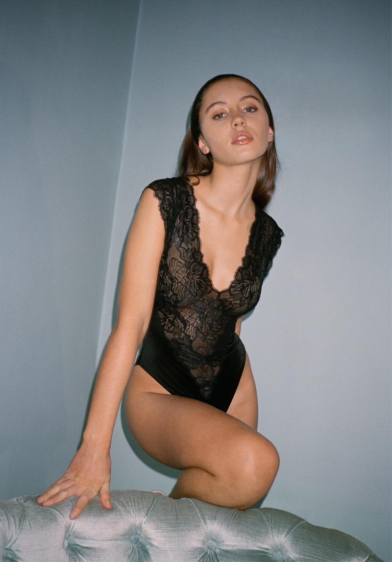 Iris Law models La Perla 1980s-inspired capsule collection of lingerie.