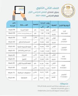 جدول امتحانات الفصل الدراسي الاول للصفوف الأول والثانى الثانوى