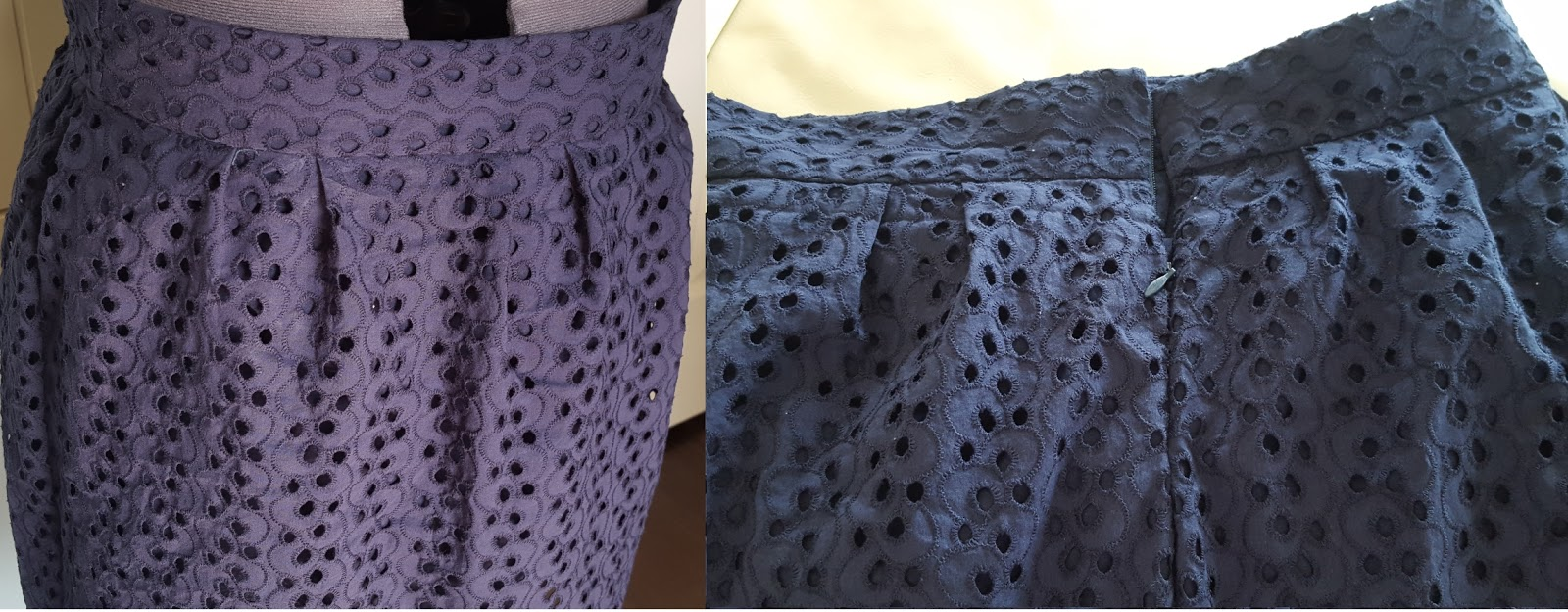 "Handmade eyelet skirt with 2"" and 1"" pleats"