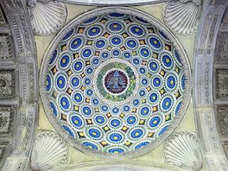 Della Robbia decorated the dome of Brunelleschi's Pazzi Chapel in the Basilica of Santa Croce
