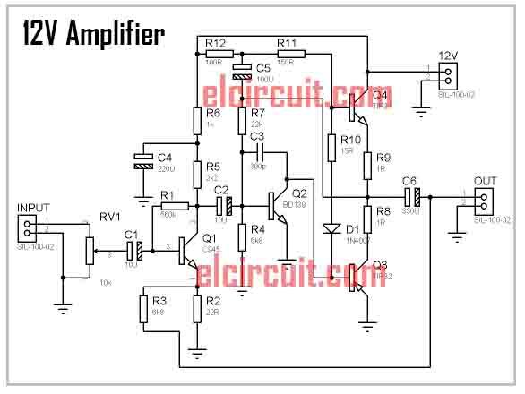12V%2BPower%2BAmplifier%2BCircuit%2Bdiagram diy mini 12volt power amplifier electronic circuit