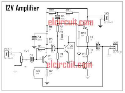12V Power Amplifier Circuit Schematic