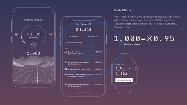 شرح برنامج المشي SWEATCOIN لربح المال عن طريق المشي