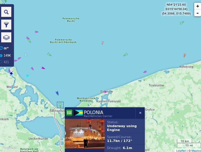 Ruch statków na morzu