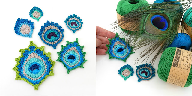 crochet mini peacock feather design thecuriocraftsroom etsy ravelry the curio crafts room