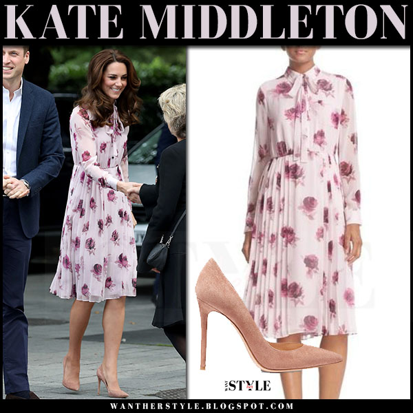 Kate Middleton in pink rose print chiffon dress kate spade and suede pumps gianvito rossi what she wore