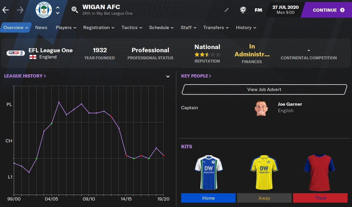 Wigan AFC Football Manager 2021