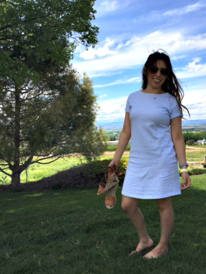 espadrille wedges, striped t shirt dress