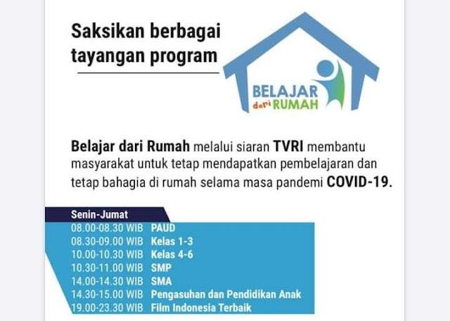 Jadwal Belajar Dari Rumah TVRI Senin, 20 April 2020 PAUD, SD, SMP dan SMA