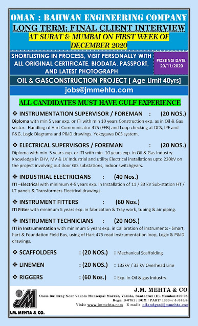 Oman Jobs, Oil & Gas Jobs, Instrumentation Jobs, Instrumentation Supervisor, Instrumentation Foreman, Electrical Foreman, Electrical Supervisor