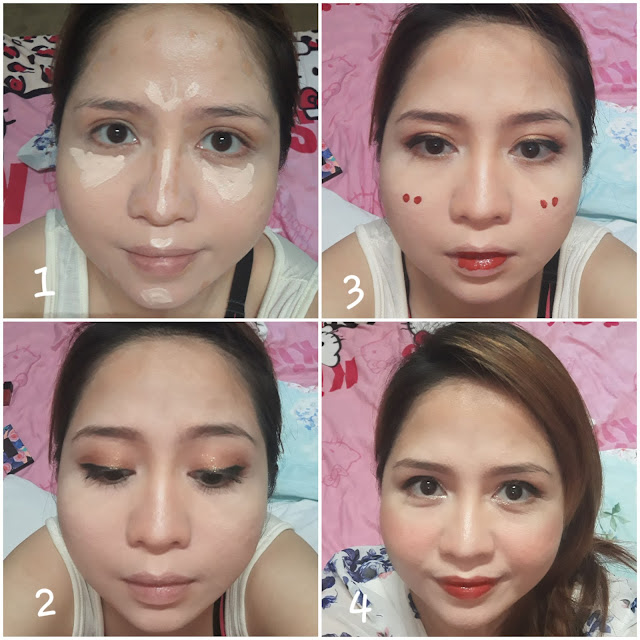 Apply bb cream or foundation. Then contour above the forehead, sides of nose, cheekbones  and jawline with the darkest Althea Flawless Creamy concealer #4, and highlight middle of the nose, between brows, undereyes, cupid's bow and chin with the lightest #1. Apply eyebrow product, liquid eyeliner and mascara. Accent your peepers with gold and brown with BCL x A palette - brush the color of 2nd pan all over eyelids, 5th pan on the outer V, then dab 4th pan on inner half of eye using fingers for max payoff. Althea Watercolor Cream Tint in #4 Marron for the blush of cheeks and  gradient lips. Accent the inner eye corners with Althea Spotlight Eye Glitter in #1 Gold Light. Set makeup with Althea Petal Velvet Powder.