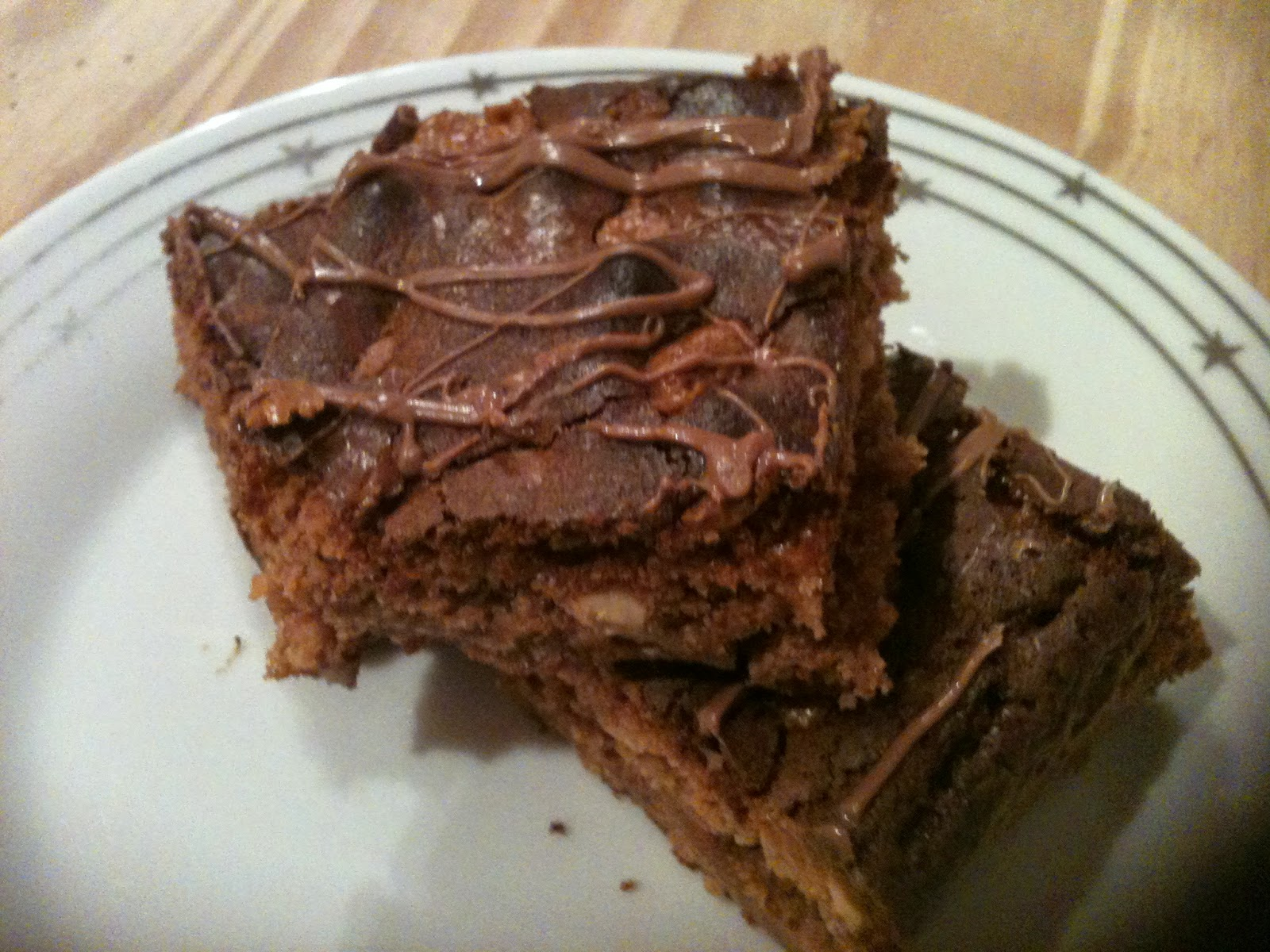Peanut butter and chocolate brownies on a plate ready to eat