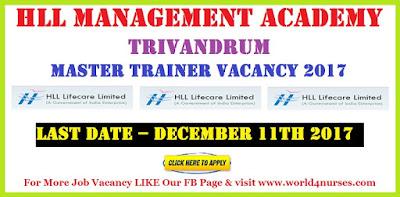 HLL Management Academy Trivandrum Master Trainer Vacancy 2017