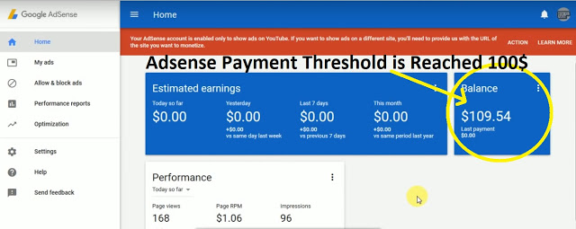 Adsense Payment Threshold is Reached 100$ Now what to do?
