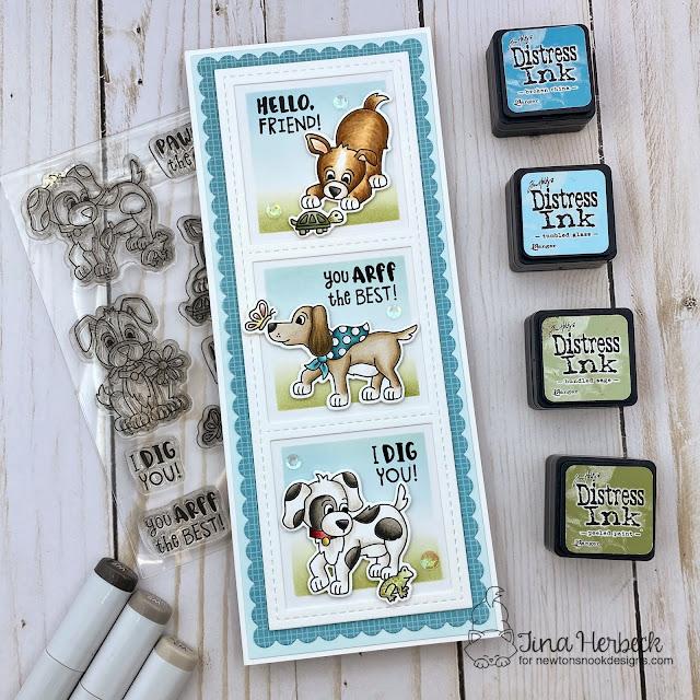 Dog Friendship card by Tina Herbeck | Puppy Friends Stamp Set, and Slimline Stencils and Die Sets by Newton's Nook Designs #newtonsnook