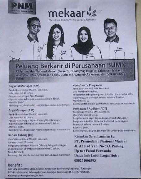 Lowongan Kerja Padang: PT. Permodalan Nasional Madani April 2017
