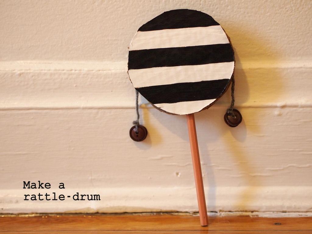make a rattle-drum | pink stripey socks