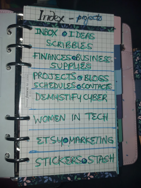 Interior of a ring bound planner with a hand written index
