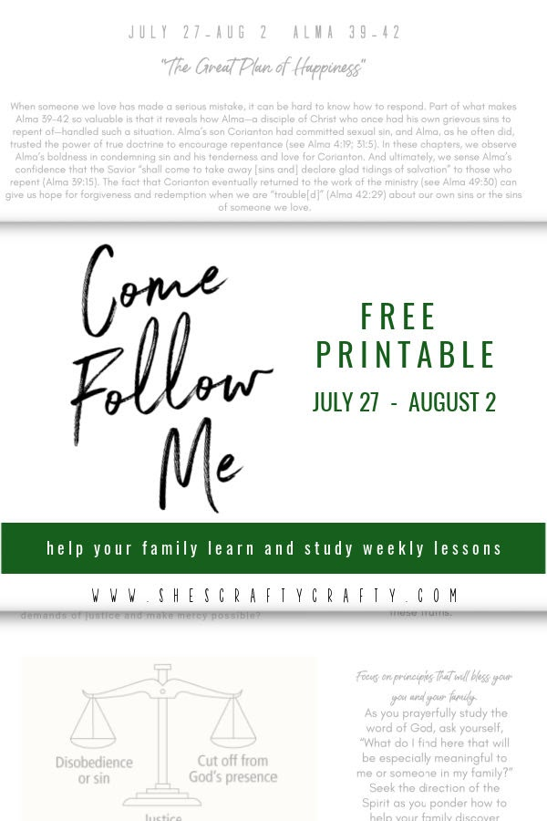 Come Follow Me , Book of Mormon, The Church of Jesus Christ of Latter Day Saints, Come Follow Me, free printable