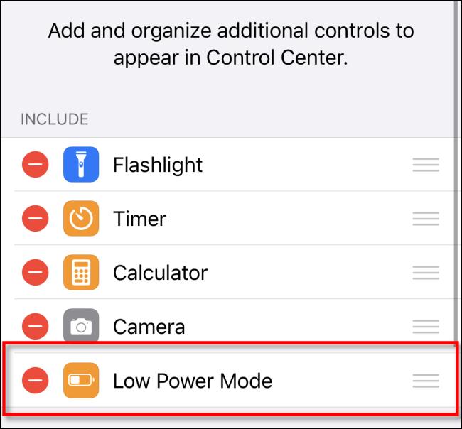 إزالة وضع الطاقة المنخفضة من مركز التحكم iOS