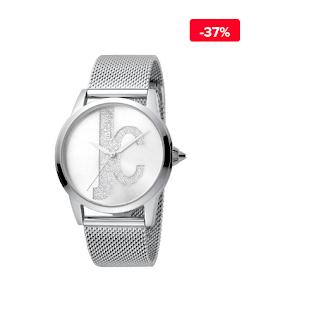 Ceas femei elegant argintiu Just Cavalli Logo JC1L055M0045