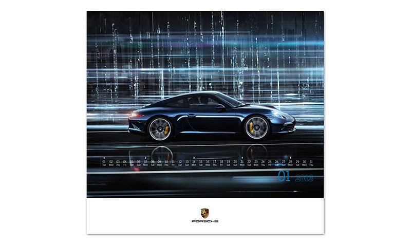 02a433890cb Timeless and sporty Porsche models in futuristic megacities. The new Porsche  calendar for 2013 gives you 12 reasons to start looking forward to the  future ...