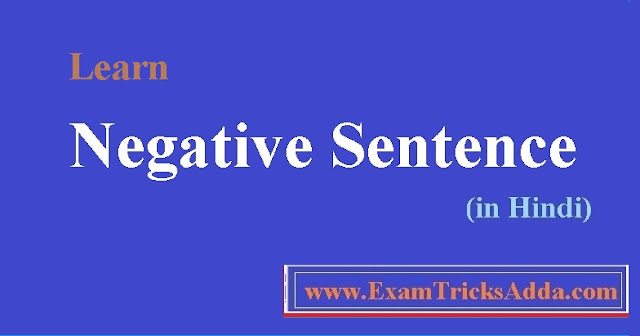 Learn Negative Sentence in Hindi with Examples - English Grammar