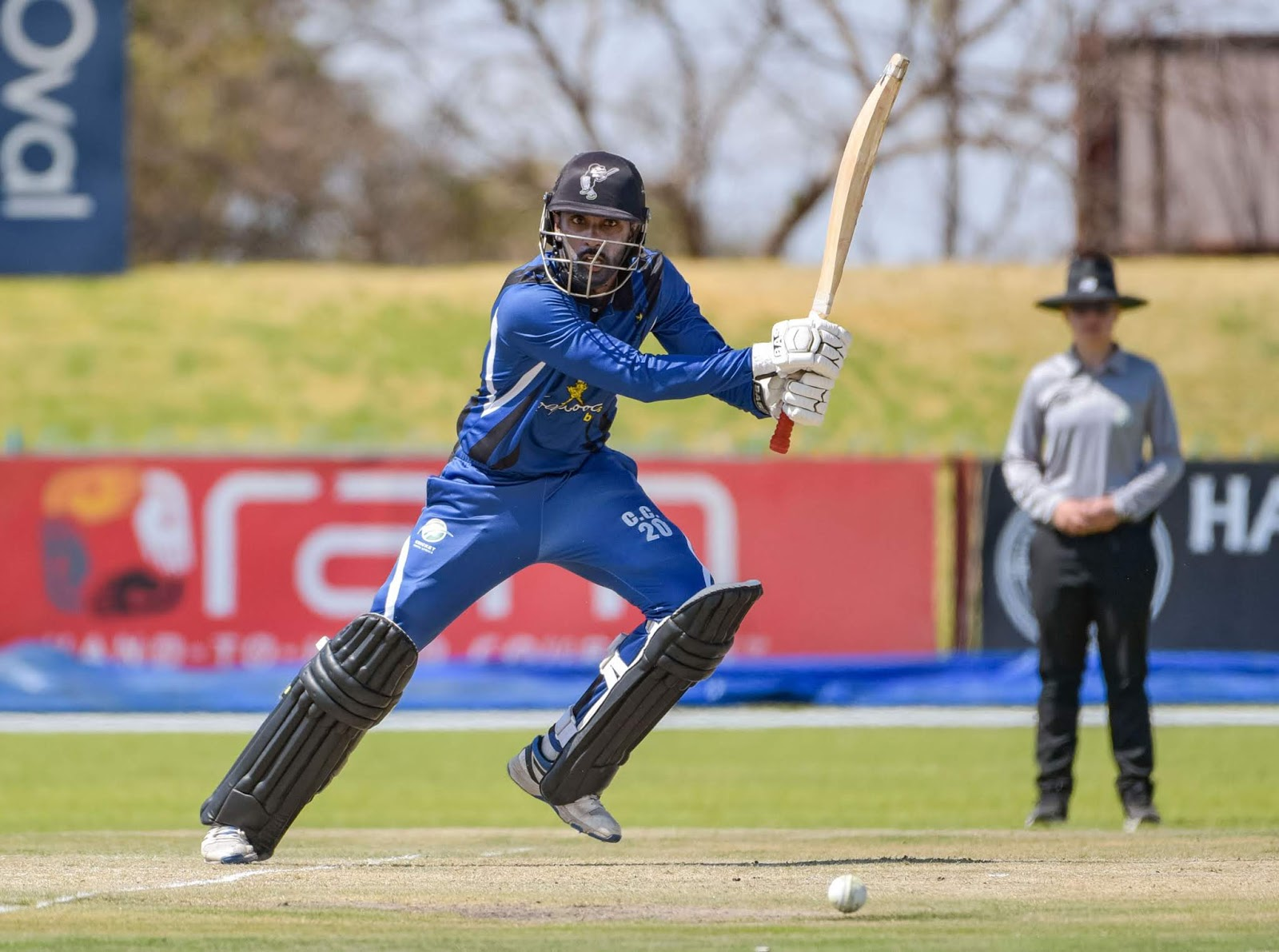 Cody Chetty plays one through the covers for Hollywoodbets KZN Inland in the 2019 CSA Provincial T20 Cup.