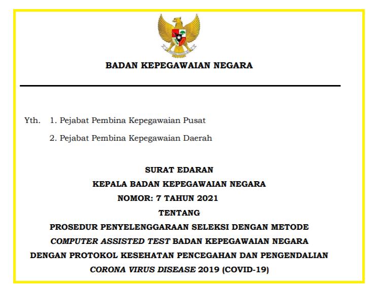 gambar surat edaran bkn no 7 tahun 2021